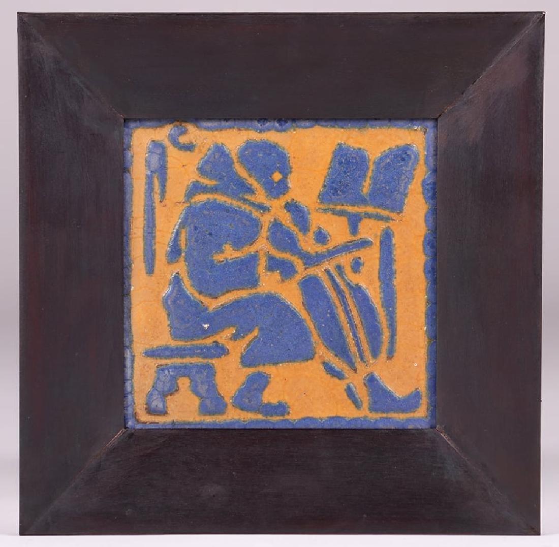Grueby Faience Matte Blue & Ochre Cello Tile - 2