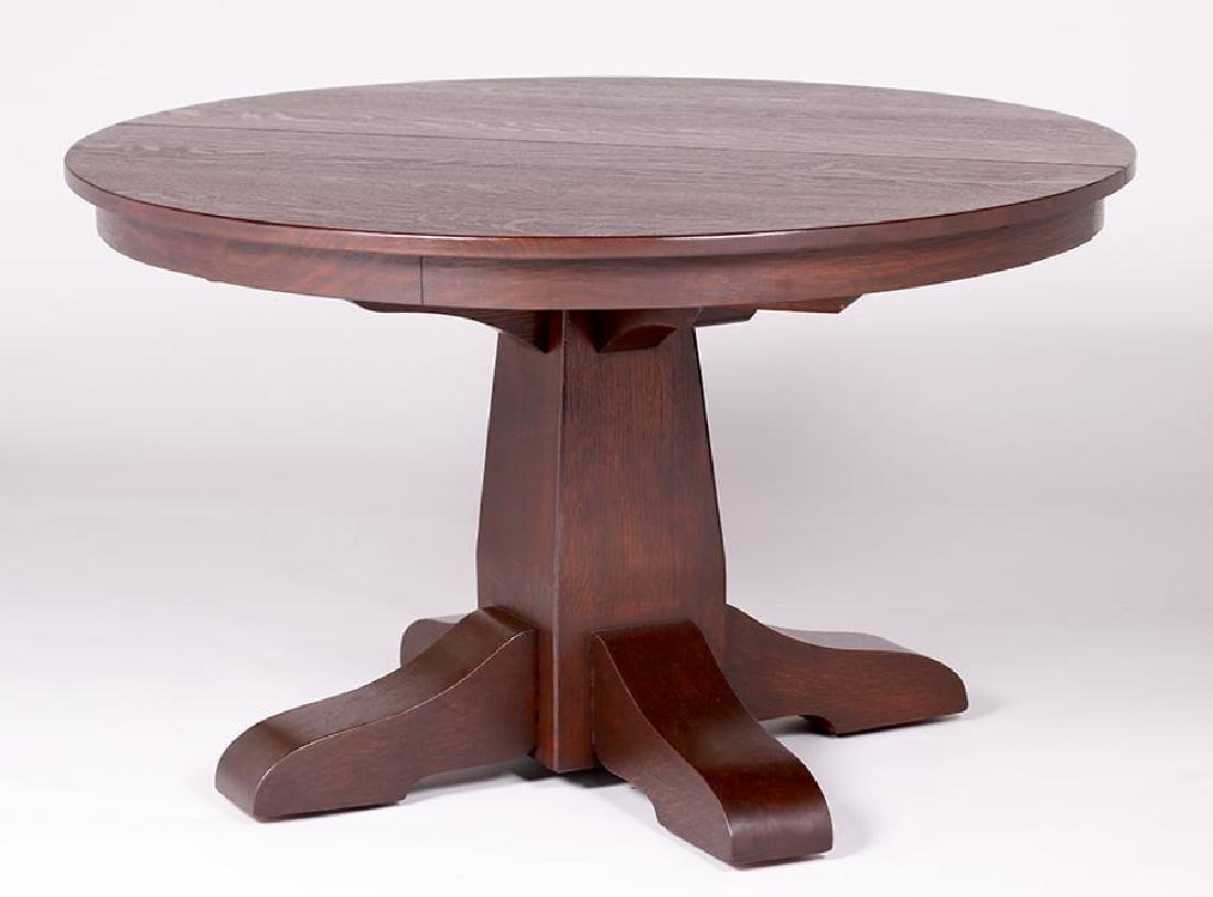 "Gustav Stickley 48""d Dining Table c1910"