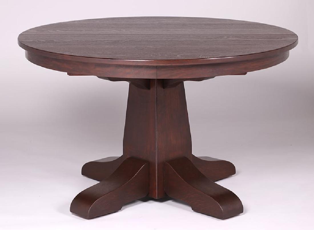 "Gustav Stickley 48""d Dining Table c1910 - 2"
