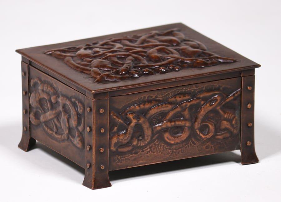 Arts & Crafts Hammered Copper Celtic Knot Box c1905