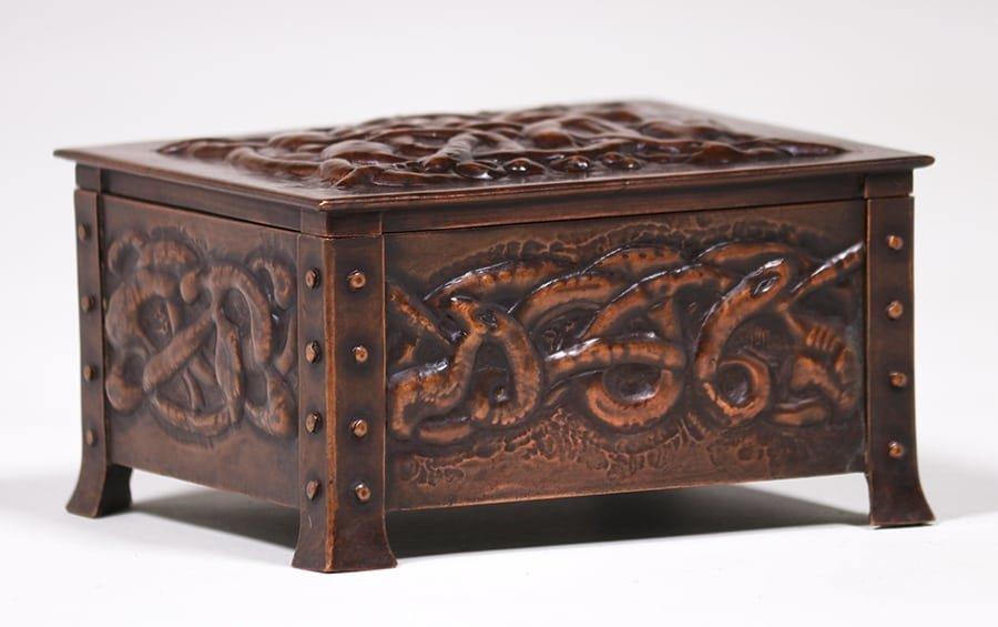 Arts & Crafts Hammered Copper Celtic Knot Box c1905 - 2