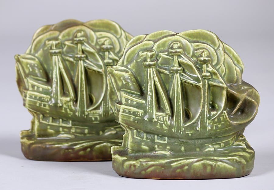 Rookwood Galleon Ship Bookends 1927
