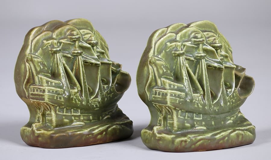 Rookwood Galleon Ship Bookends 1927 - 2