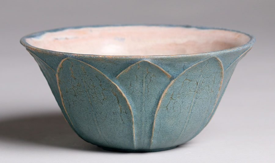 Grueby Pottery Flared Blue Bowl