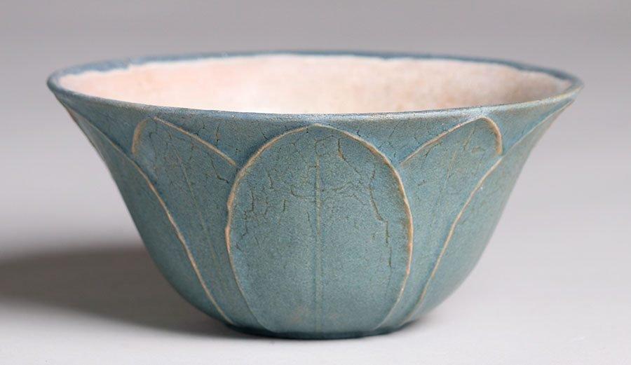 Grueby Pottery Flared Blue Bowl - 2
