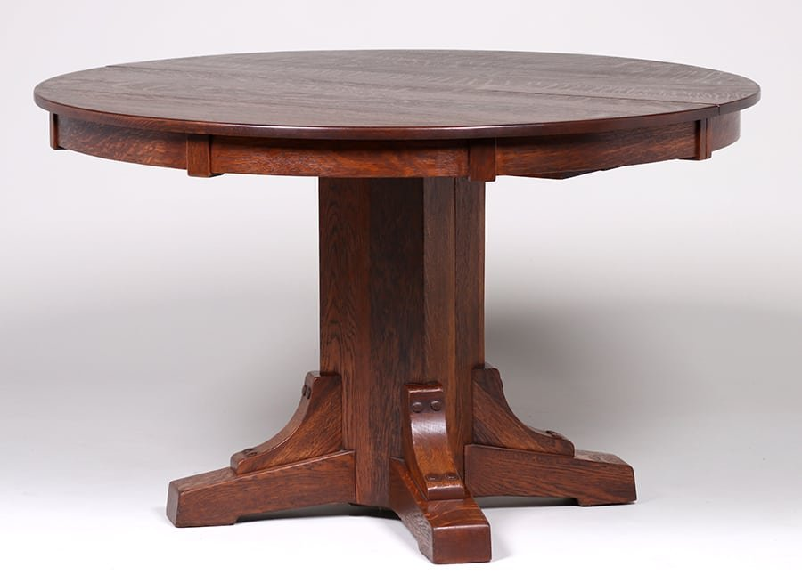 """Stickley Brothers 48""""d Block Skirt Dining Table c1910"""