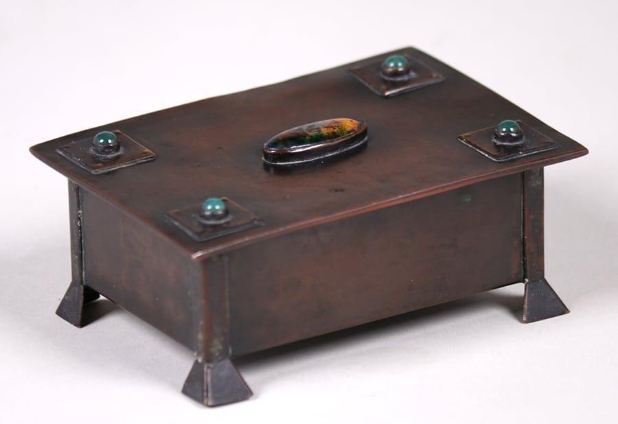 Arts & Crafts Copper Box Inset Cabochons c1905-1910