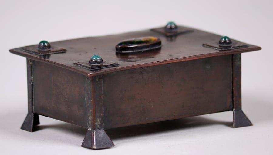 Arts & Crafts Copper Box Inset Cabochons c1905-1910 - 2