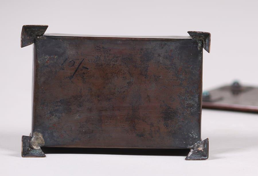 Arts & Crafts Copper Box Inset Cabochons c1905-1910 - 3