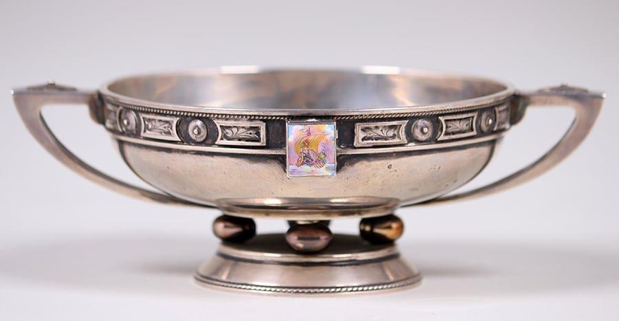 Chicago Sterling Silver Enamel Bowl c1910