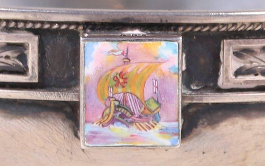 Chicago Sterling Silver Enamel Bowl c1910 - 2