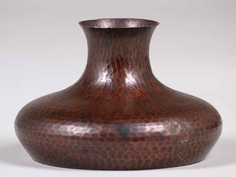 Roycroft Hammered Copper Squat Vase - 2