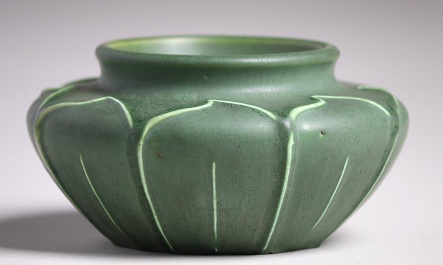 Hampshire Pottery Matte Green Squat Vase