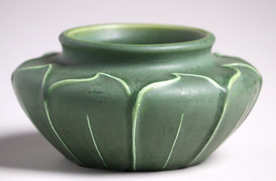 Hampshire Pottery Matte Green Squat Vase - 2