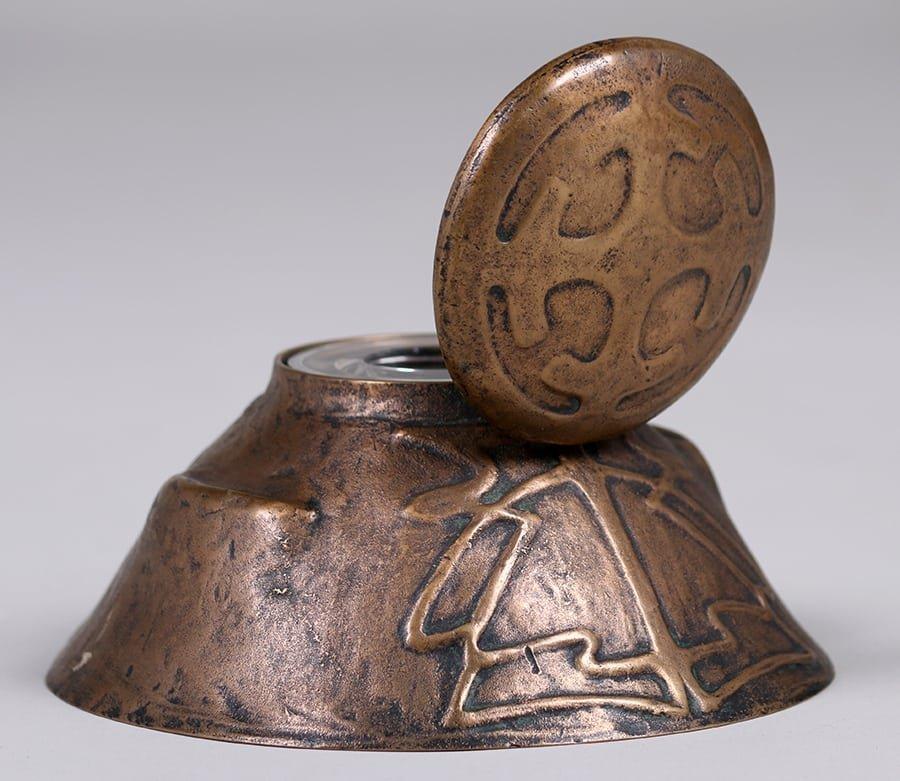 Jarvie Bronze Art Nouveau Inkwell - 5