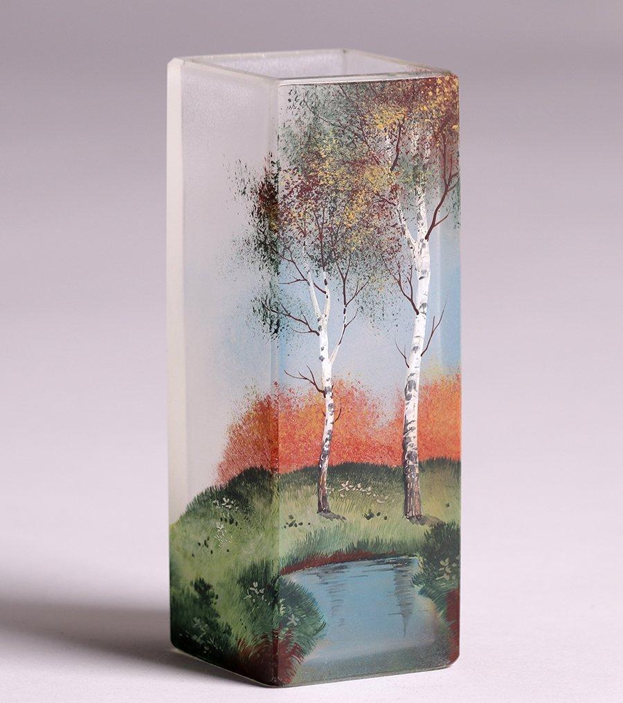 American Square Art Glass Vase c1910