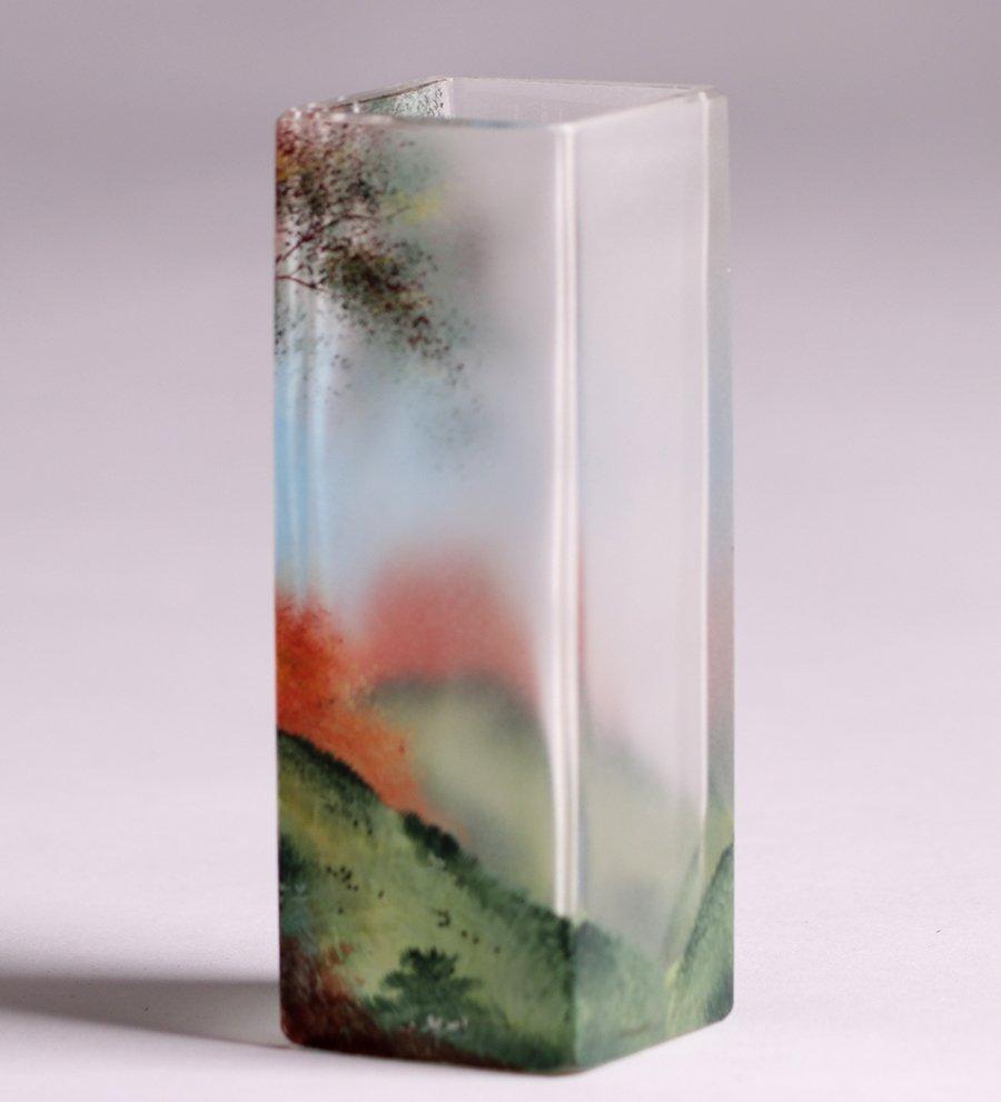 American Square Art Glass Vase c1910 - 2