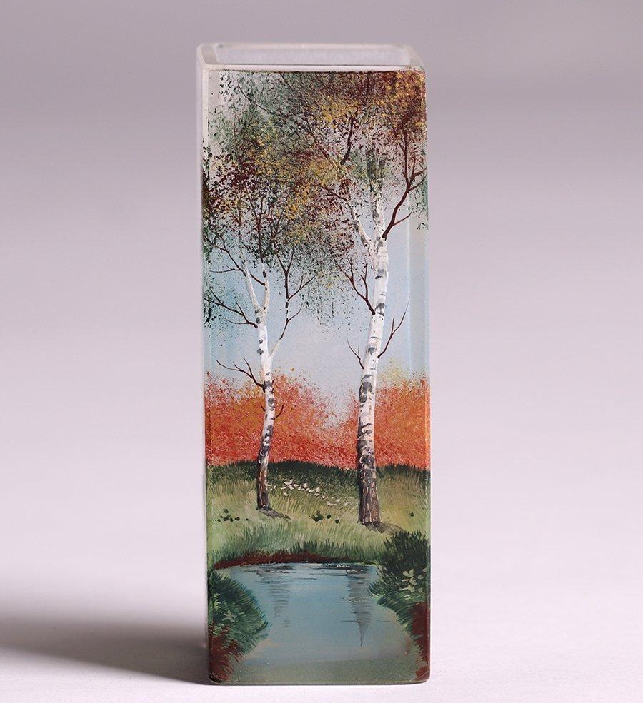 American Square Art Glass Vase c1910 - 3