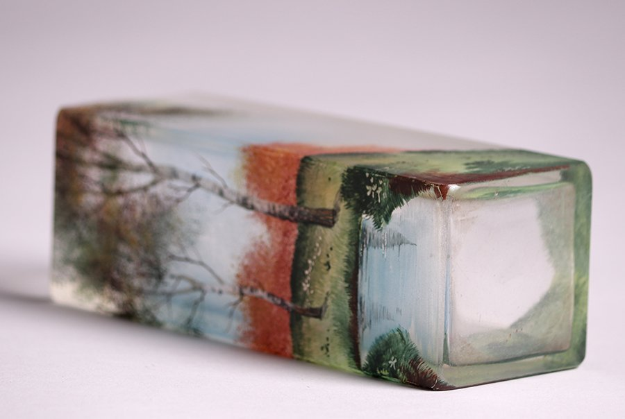 American Square Art Glass Vase c1910 - 4