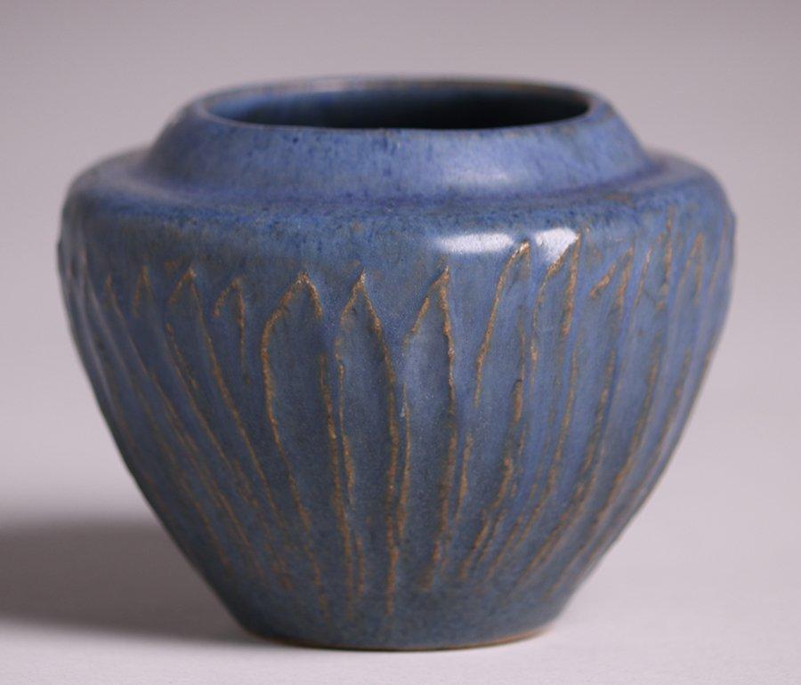 Arequipa Pottery Matte Blue Vase - 2