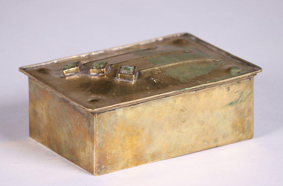 Arts & Crafts Hammered Brass Box c1910