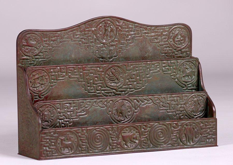Tiffany Studios Bronze Zodiac Letter Rack