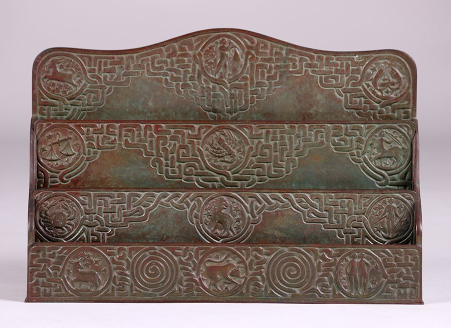 Tiffany Studios Bronze Zodiac Letter Rack - 2