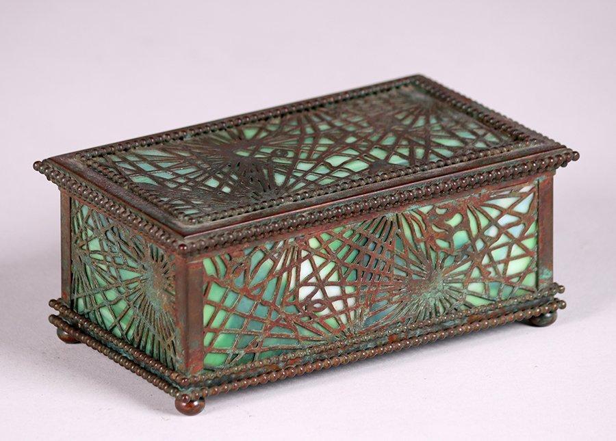 Tiffany Studios Bronze Overlay Pine Needle Box c1910