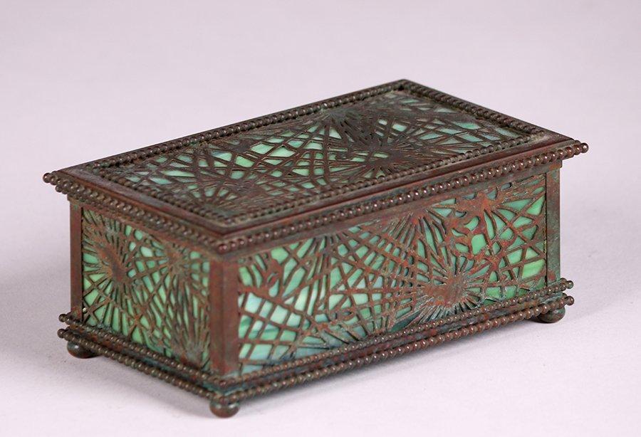 Tiffany Studios Bronze Overlay Pine Needle Box c1910 - 3