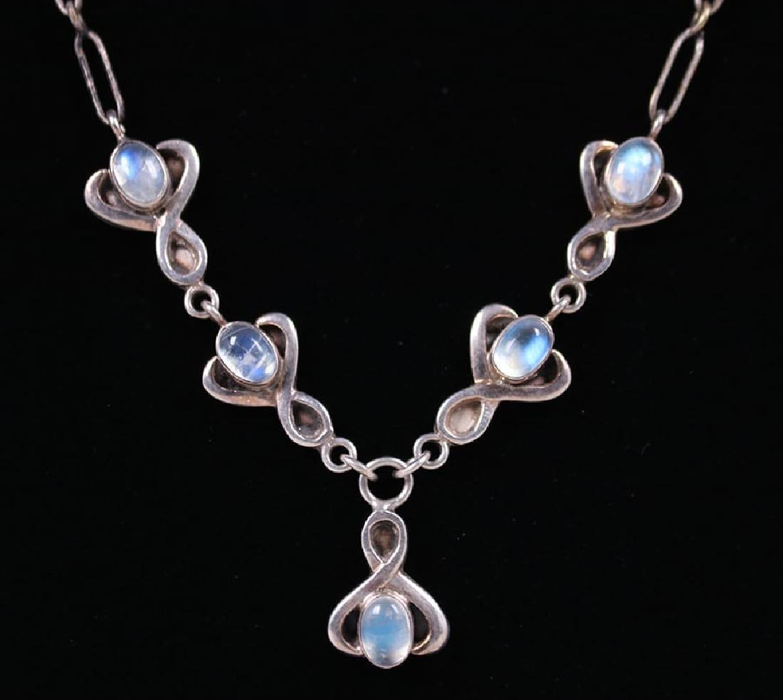 Arts & Crafts Sterling Silver Moonstone Necklace c1910