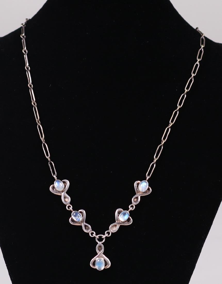 Arts & Crafts Sterling Silver Moonstone Necklace c1910 - 2