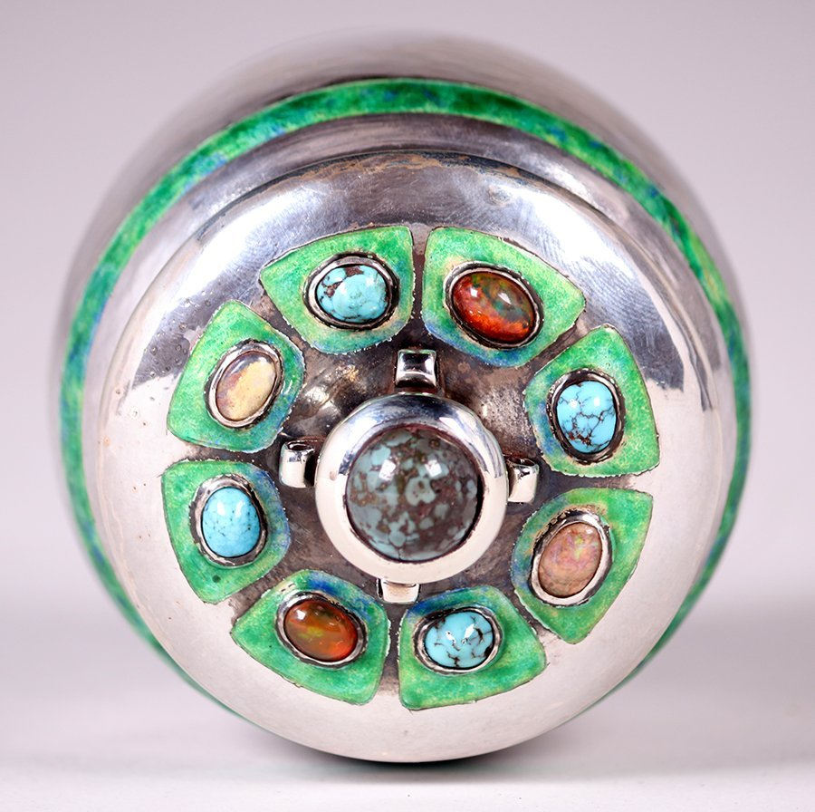 Liberty & Co Sterling Silver Jewel Encrusted Canister - 4