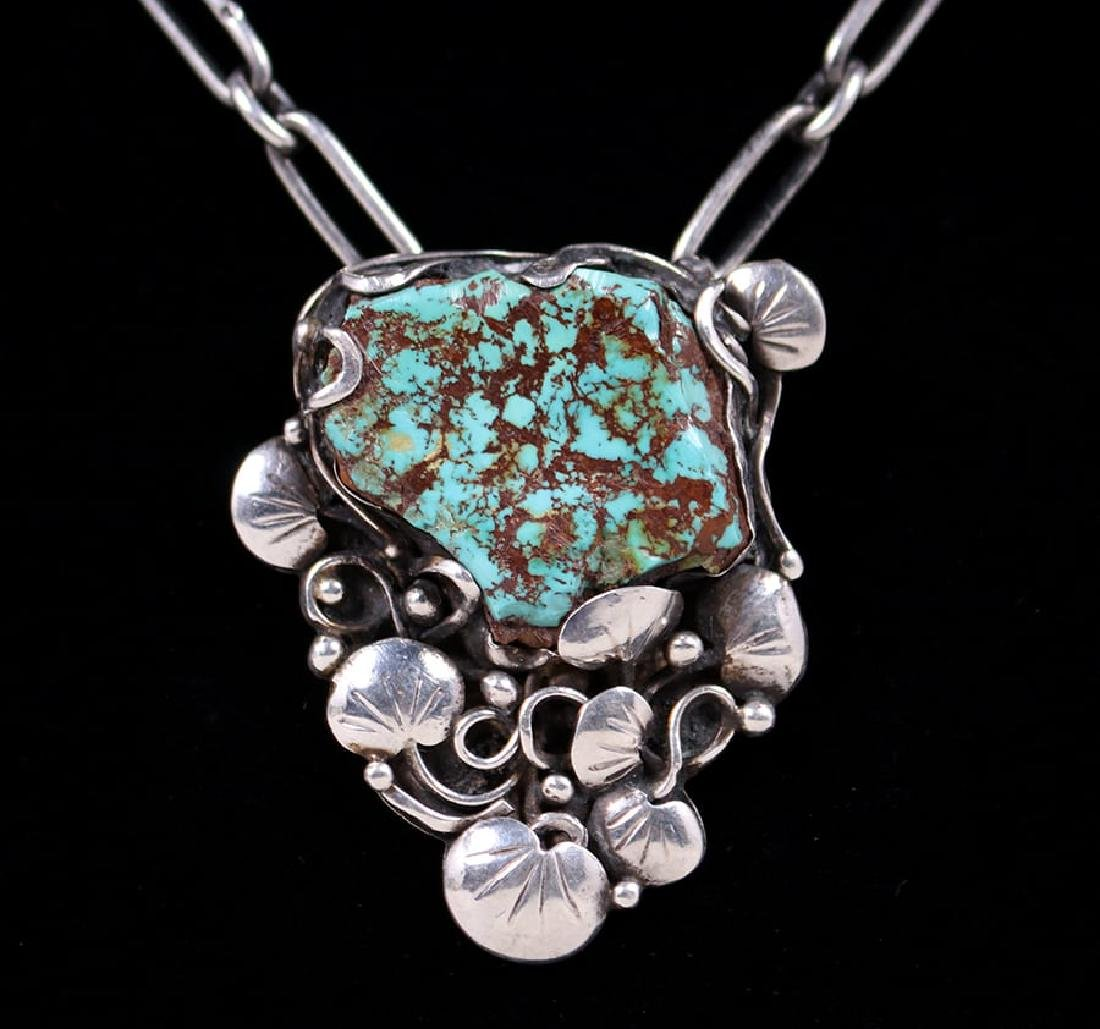 Mary Gage Sterling Silver & Turquoise Pendant Necklace