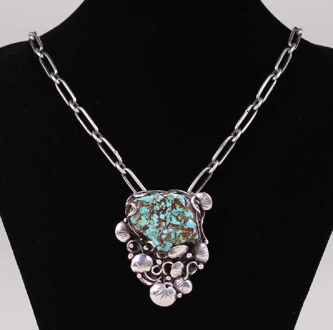 Mary Gage Sterling Silver & Turquoise Pendant Necklace - 2