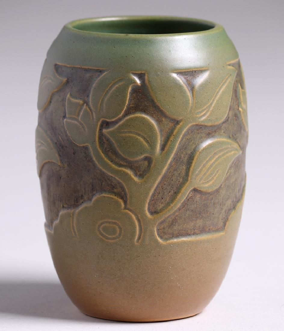 North Dakota School of Mines Carved Green Vase