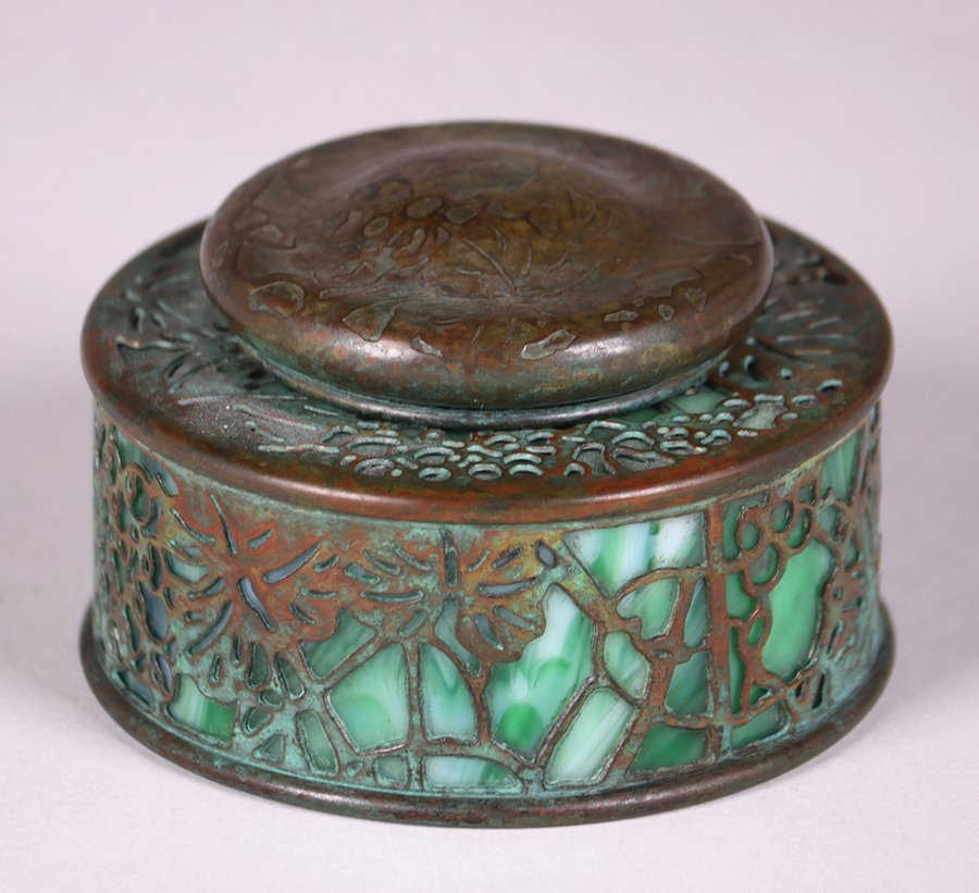 Tiffany Studios Bronze Overlay Round Inkwell