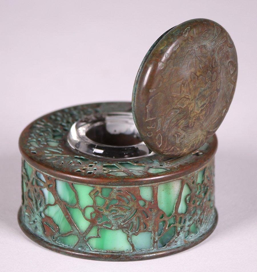 Tiffany Studios Bronze Overlay Round Inkwell - 4