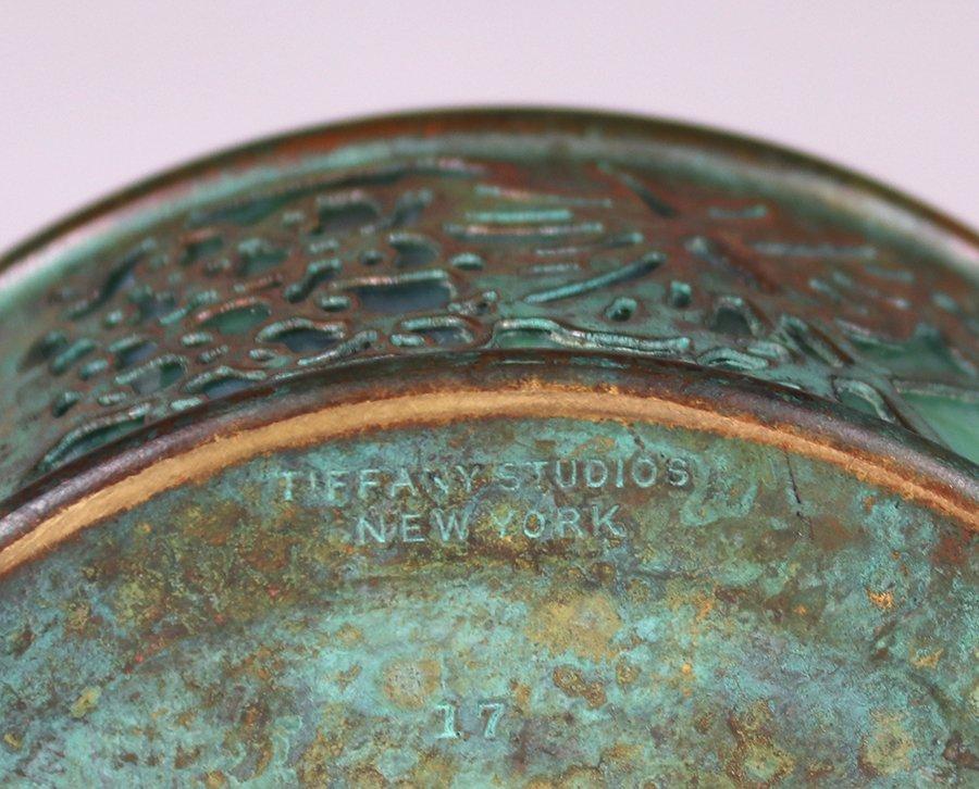Tiffany Studios Bronze Overlay Round Inkwell - 5
