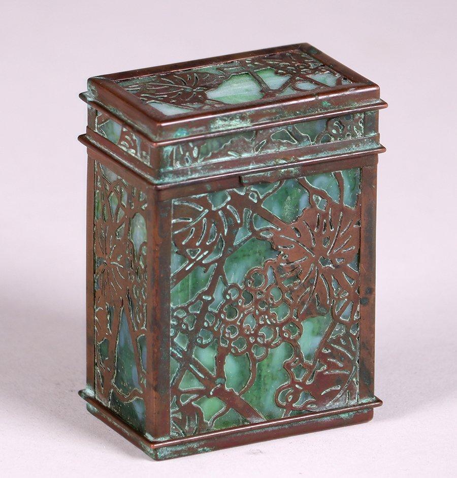Tiffany Studios Bronze Overlay Double Card Box