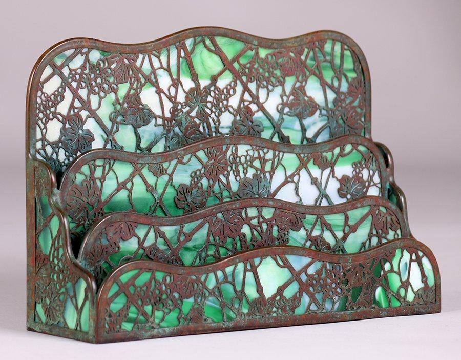 Tiffany Studios Large Grape Trellis Overlay Letter Rack
