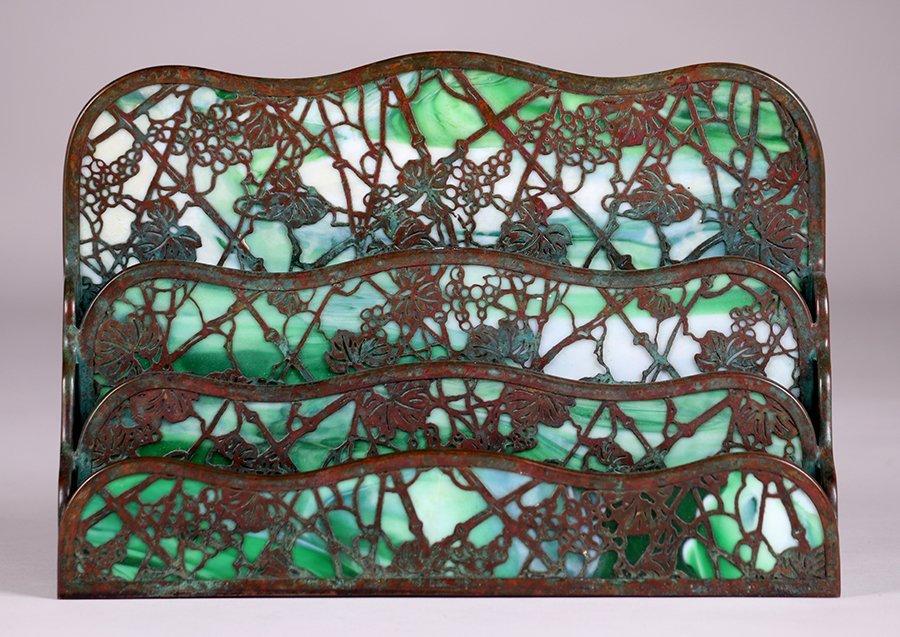 Tiffany Studios Large Grape Trellis Overlay Letter Rack - 2