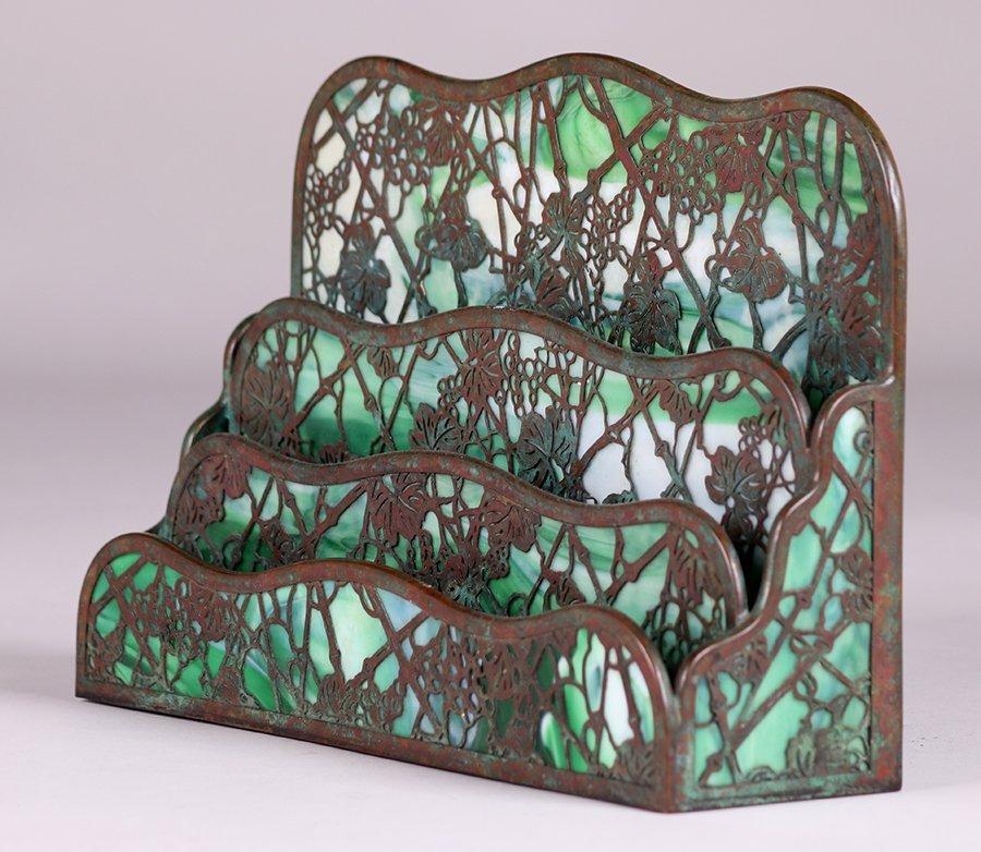 Tiffany Studios Large Grape Trellis Overlay Letter Rack - 3