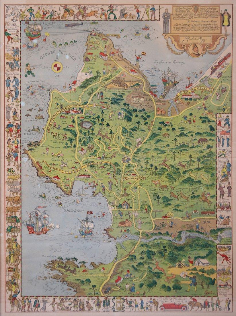 Antique Tourist Map Carmel, CA c1930s