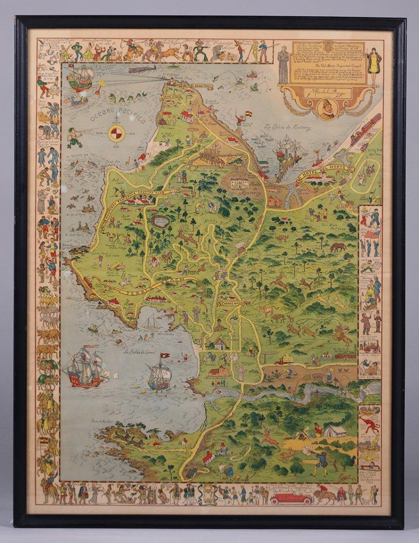 Antique Tourist Map Carmel, CA c1930s - 2