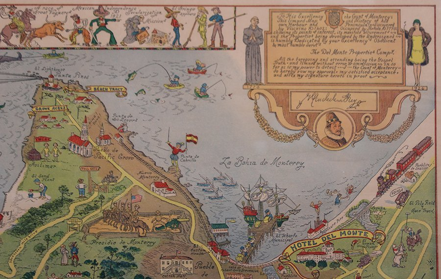 Antique Tourist Map Carmel, CA c1930s - 3