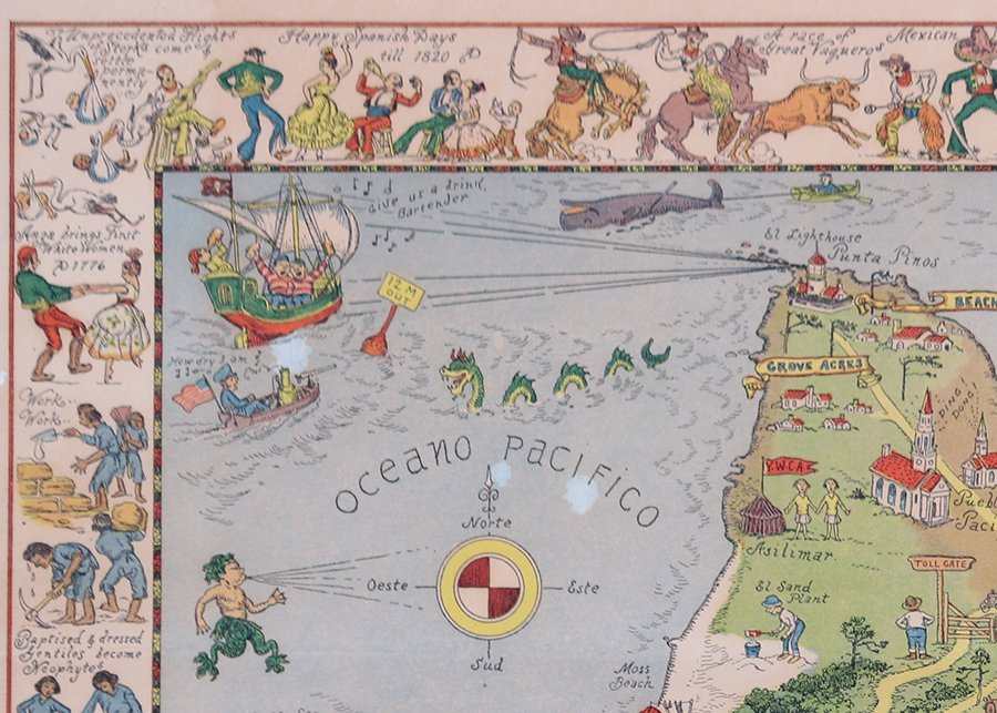 Antique Tourist Map Carmel, CA c1930s - 4