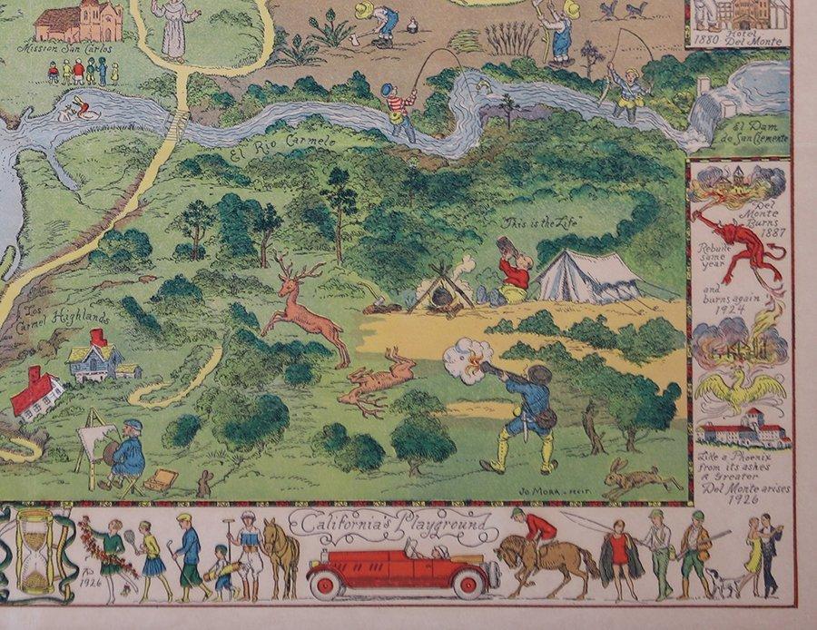 Antique Tourist Map Carmel, CA c1930s - 5