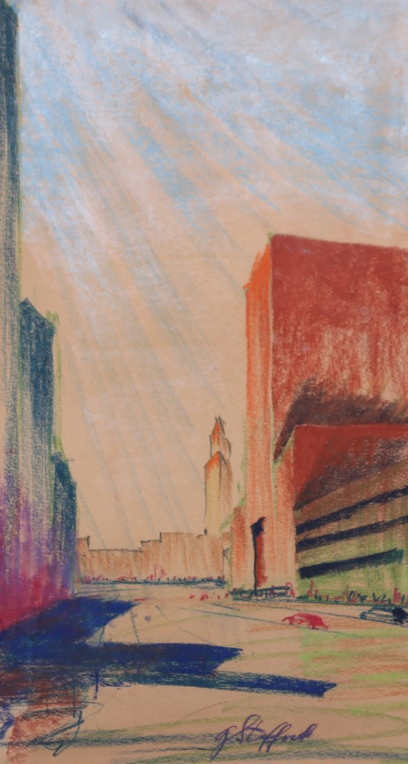 G. Stafford Pastel Drawing 1930s New York Deco Building