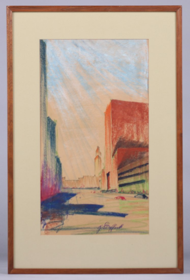 G. Stafford Pastel Drawing 1930s New York Deco Building - 2