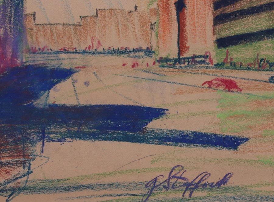 G. Stafford Pastel Drawing 1930s New York Deco Building - 3